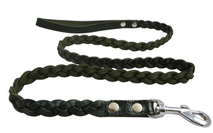"Genuine Fully Braided Leather Dog Leash 4 Ft Long 5/8"" Wide Black, Menium Breeds"