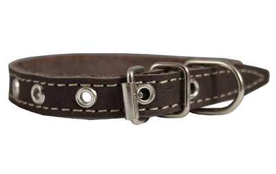 Brown Real Leather Dog Collar 9.5