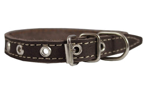 "Brown Real Leather Dog Collar 9.5""-13"" Neck Size, 1/2"" Wide Yorkshire Terrier, Puppies"