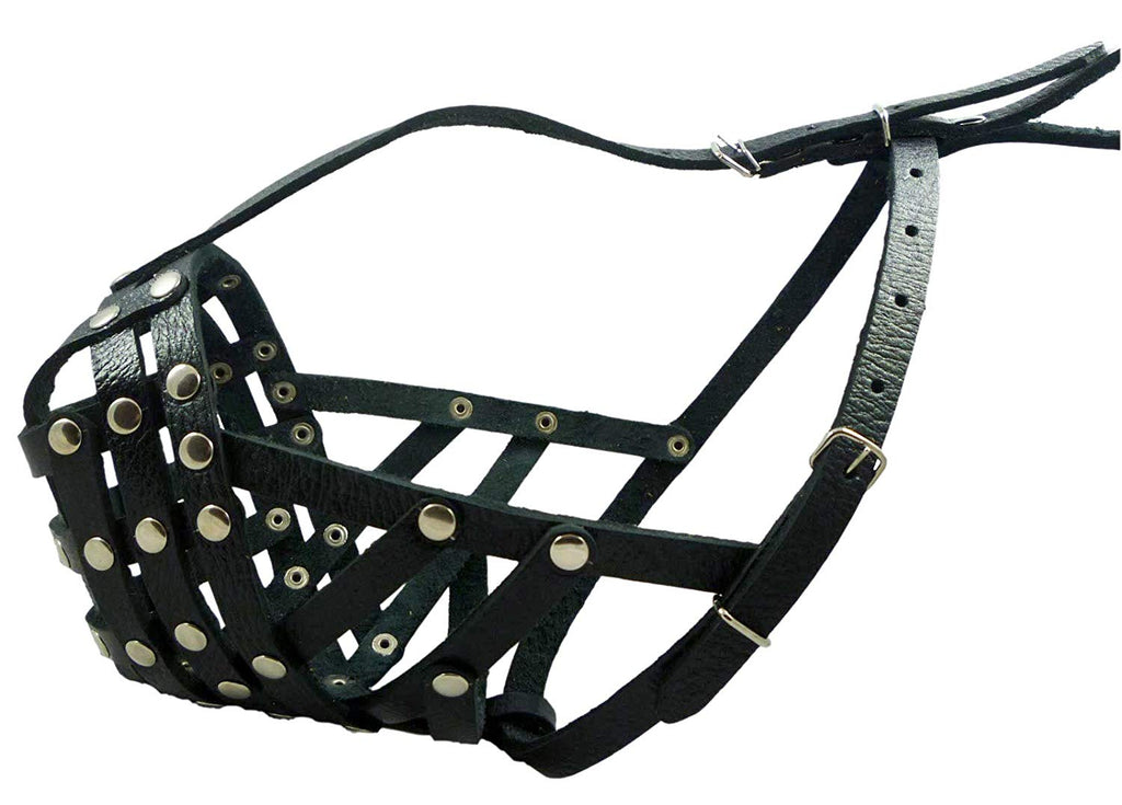 "Secure Leather Mesh Basket Dog Muzzle #14 Black - Boxer, English Bulldog (Circumf. 13"", Snout 3"")"