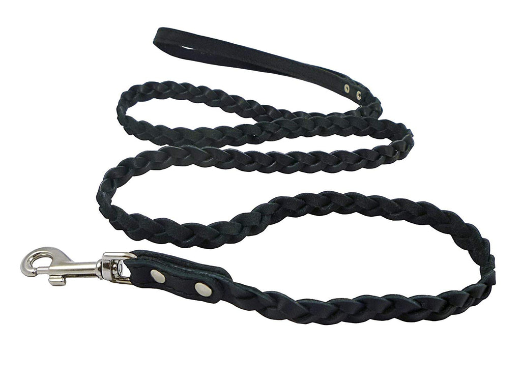 "Genuine Fully Braided Leather Dog Leash 4 Ft Long 1/2"" Wide Black, Small Breeds"