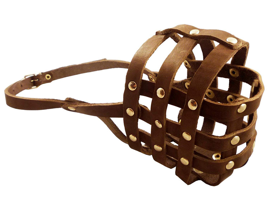 "Soft Genuine Leather Dog Basket Muzzle #109 Brown - Boxer, Bulldog (Circumf 13"", Snout Length 3.5"")"