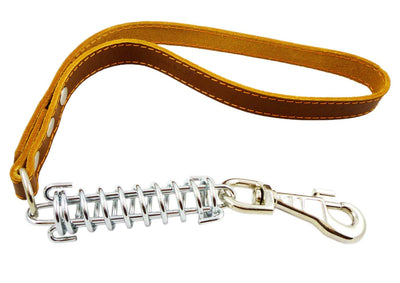 Brown Shock Absorbing Leather Dog Short Traffic Leash 20