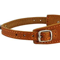 "Genuine Leather Two Buckles Dog Collar 9.5""-12.5"" Neck for Small Breeds and Puppies Tan"