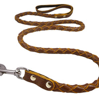 "4-thong Round Fully Braided Genuine Leather Dog Leash, 4 Ft x 5/8"" (15mm) Brown, Medium Breeds"
