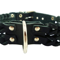 "Double Braid Black Genuine Leather Dog Collar Braided 1.5"" Wide, Fits 19.5""-22.5"" Neck, Large"