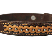 "Genuine Leather Braided Studded Dog Collar, Brown 1"" Wide. Fits 14""-18"" Neck."