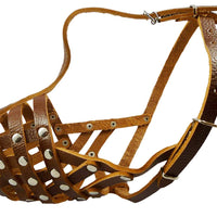 "Secure Leather Mesh Dog Basket Dog Muzzle #11 Brown - Pit Bull, AmStaff (Circumf 12"", Snout 3.5"")"