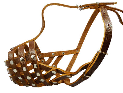 Secure Leather Mesh Dog Basket Dog Muzzle #11 Brown - Pit Bull, AmStaff (Circumf 12