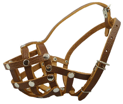 Secure Leather Mesh Basket Dog Muzzle #17 Brown - Spaniel,Poodle,Schnauzer(Circumf 9.5