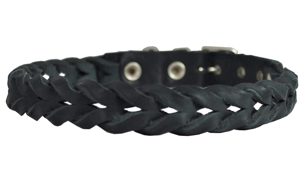 "Black Genuine Leather Braided Dog Collar Braided 1"" Wide, Fits 18""-21.5"" Neck, Medium"