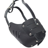 "Real Leather Cage Basket Secure Dog Muzzle #131 Black (Circumference 15"", Snout Length 4"")"