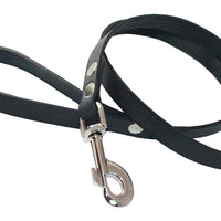 "4' Genuine Leather Classic Dog Leash Black 3/4"" Wide for Large Dogs"