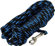 "Dogs My Love Braided Nylon Rope Tracking Dog Leash, Black/Blue 15/30Ft 1/4"" Diam Training Lead Small"