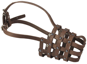 "Leather Mesh Basket Secure Dog Muzzle #143 Brown (Circumference 11.5"", Snout Length 4.25"")"