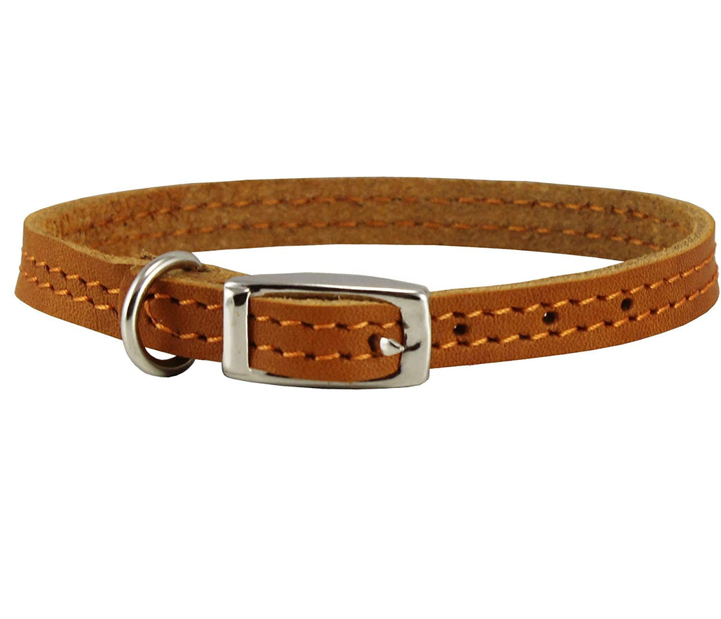 "Genuine Leather Dog Collar 8""-9.5"" Neck for Smallest Breeds and Young Puppies Tan"