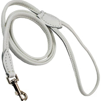 Dogs My Love 4ft Long Round Genuine Rolled Leather Dog Leash White