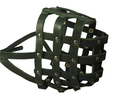 Real Leather Dog Basket Muzzle #115 Black (Circumference 18