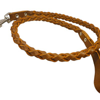 "4-thong Round Fully Braided Genuine Leather Dog Leash, 4 Ft x 3/4"" (20mm) Brown, XLarge Breeds"