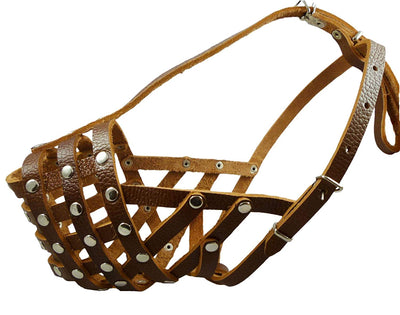 Secure Leather Mesh Basket Dog Muzzle #15 Brown - Rottweiler (Circumference 13.5