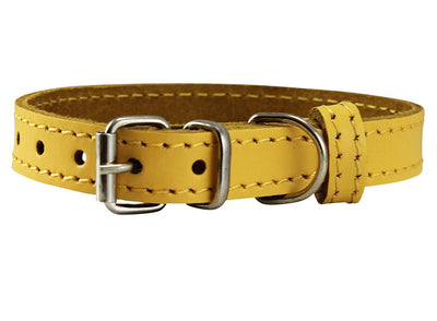 Genuine Leather Dog Collar for Smallest Dogs and Puppies 3 Sizes Yellow