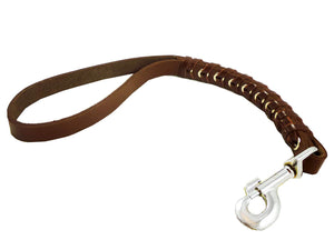"Brown Leather Braided Dog Traffic Leash Short 15"" Long"
