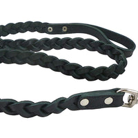 "Genuine Fully Braided Leather Dog Leash 4 Ft Long 1"" Wide Black, Large Breeds"