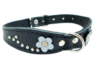 "Black Genuine Leather Designer Dog Collar 11""x3/4"" with Studs, Daisy, and Rhinestone"