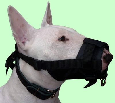 Adjustable Nylon Dog Grooming Black Muzzle No Bite 7.5