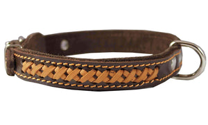 "High Quality Genuine Leather Braided Dog Collar Brown 7/8"" Wide Fits 13""-16"" Neck. 18"" Long"