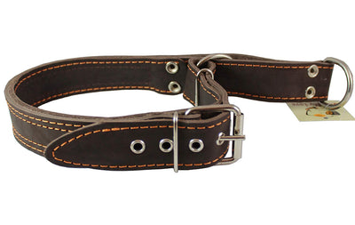 Martingale Genuine Brown Double Ply Leather Dog Collar Choker Large Fits 19