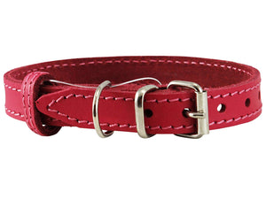 Genuine Leather Dog Collar for Smallest Dogs and Puppies 3 Sizes Pink