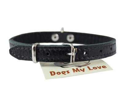 Black Genuine Leather Felt Padded Dog Collar 13