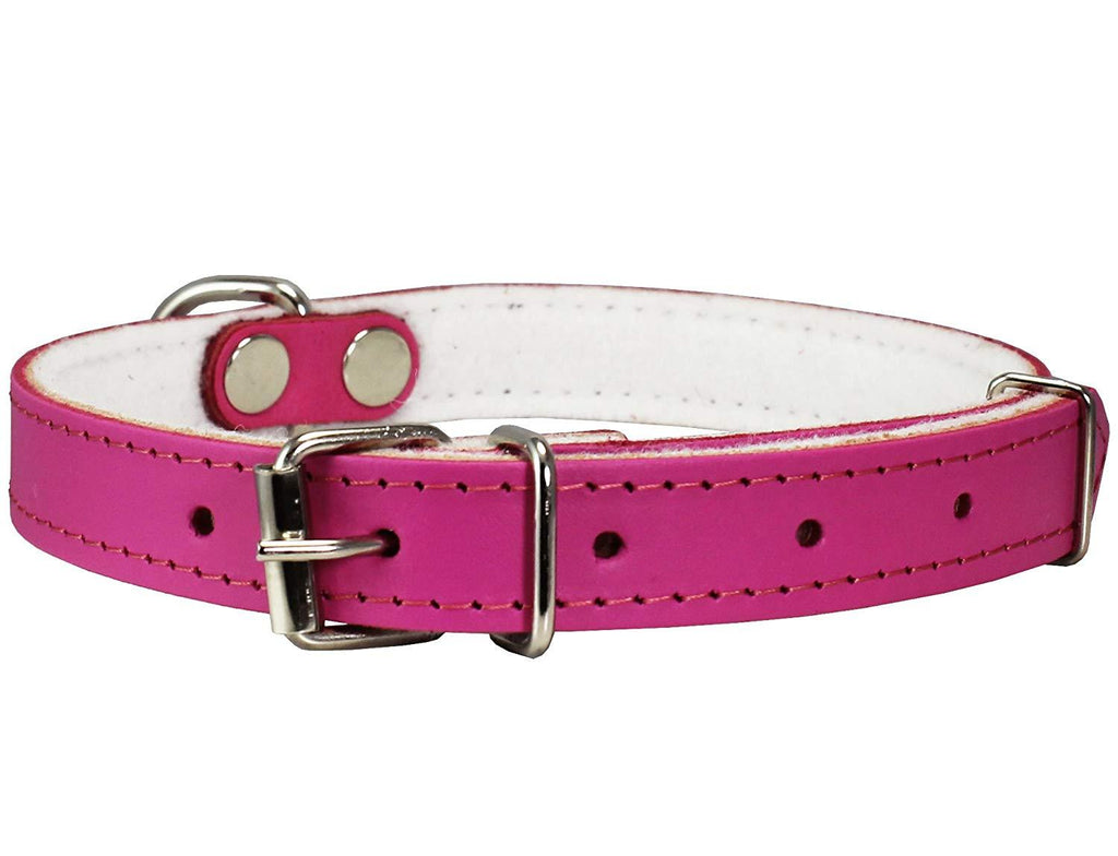Dogs My Love Genuine Leather Felt Padded Dog Collar Pink