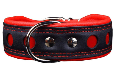 Real Leather Soft Leather Padded Dog Collar Reflective Black/Red