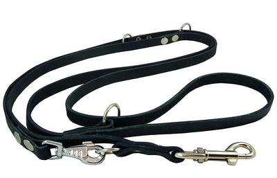 Dogs My Love 6-Way Multifunctional Leather Dog Leash, Adjustable Lead 49