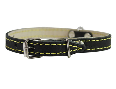 Black Real Leather Dog Collar 9.5