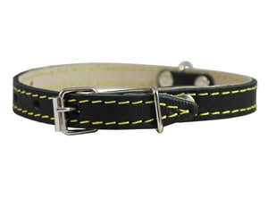 "Black Real Leather Dog Collar 9.5""-13"" Neck Size, 1/2"" Wide Yorkshire Terrier, Puppies"