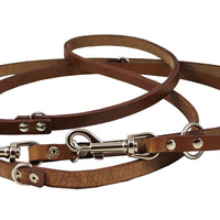 "6-Way Euro Multifunctional Leather Dog Leash, Adjustable Lead Brown 41""-78"" Long, 1/2"" Wide (12 mm)"