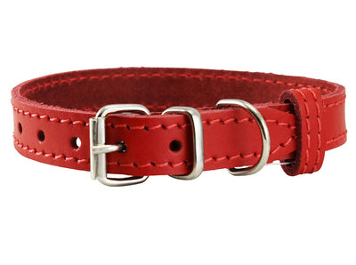 Genuine Leather Dog Collar for Smallest Dogs and Puppies 3 Sizes Red