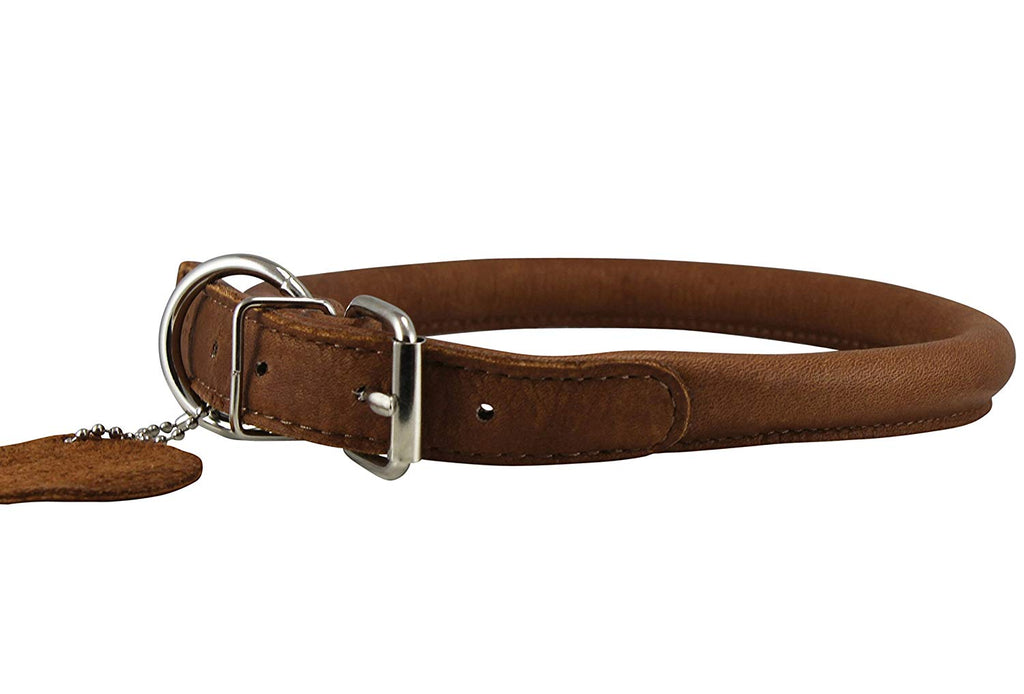 "Dogs My Love Genuine Leather Rolled Dog Collar 15""-18"" neck size, Chow Chow, Collie, Labrador"