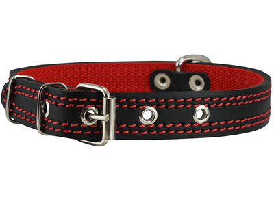 Genuine Leather Dog Collar Padded Black 3 Sizes