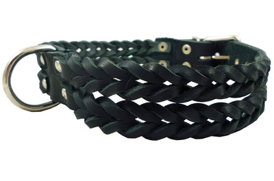 Double Braid Black Genuine Leather Dog Collar Braided 1.5