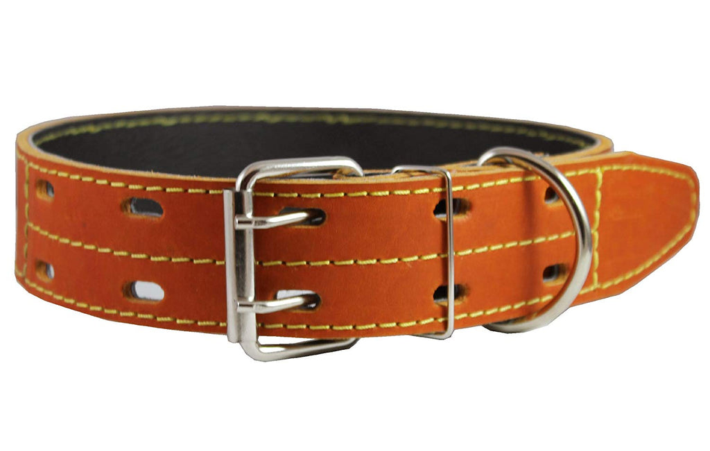 "Genuine Thick Leather Dog Collar 20""-27"" Neck Size, 1.75"" Wide, Mastiff, Great Dane"