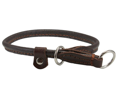 Round High Quality Genuine Rolled Leather Choke Dog Collar Brown