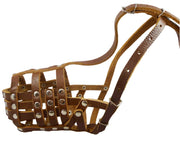 "Secure Leather Mesh Basket Dog Muzzle #12 Brown - Doberman, Collie (Circumf 11.5"", Snout Length 5"")"