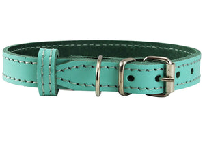 Genuine Leather Dog Collar for Smallest Dogs and Puppies 3 Sizes Turquoise