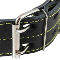 "Genuine Thick Leather Dog Collar 20""-27"" Neck Size, 1.75"" Wide, Black Mastiff, Great Dane"