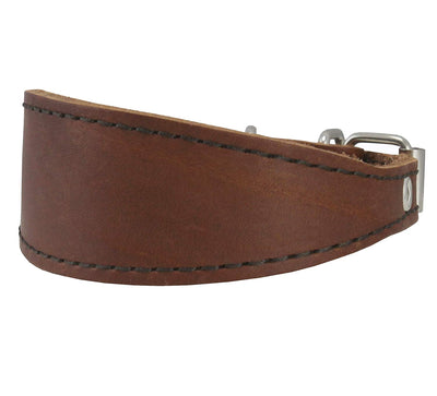 Brown Real Leather Tapered Dog Collar 1,5