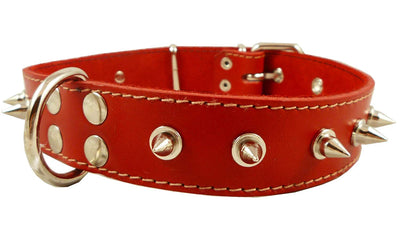 Dogs My Love Real Leather Red Spiked Dog Collar Spikes, 1.5